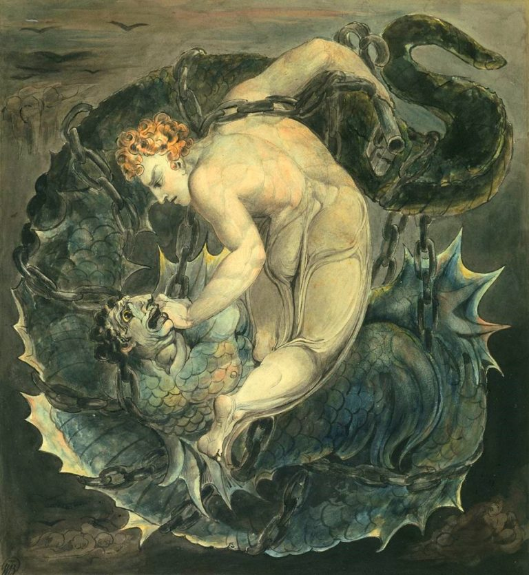 angel michael binding satan by w.blake c. 1805 768x835 - Аспекты Юпитер — Сатурн